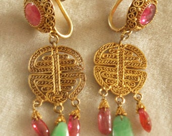 Chinese Apple Jade and Tourmaline Earrings