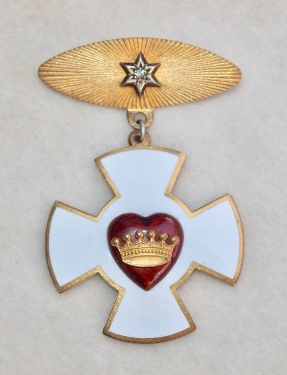 Enamelled Medal Pin Maltese Cross With Heart And Crown Etsy