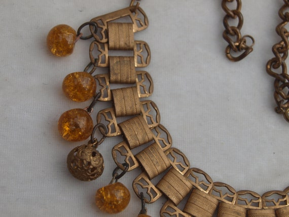 1930's Brass and Glass Fringe Necklace - image 3
