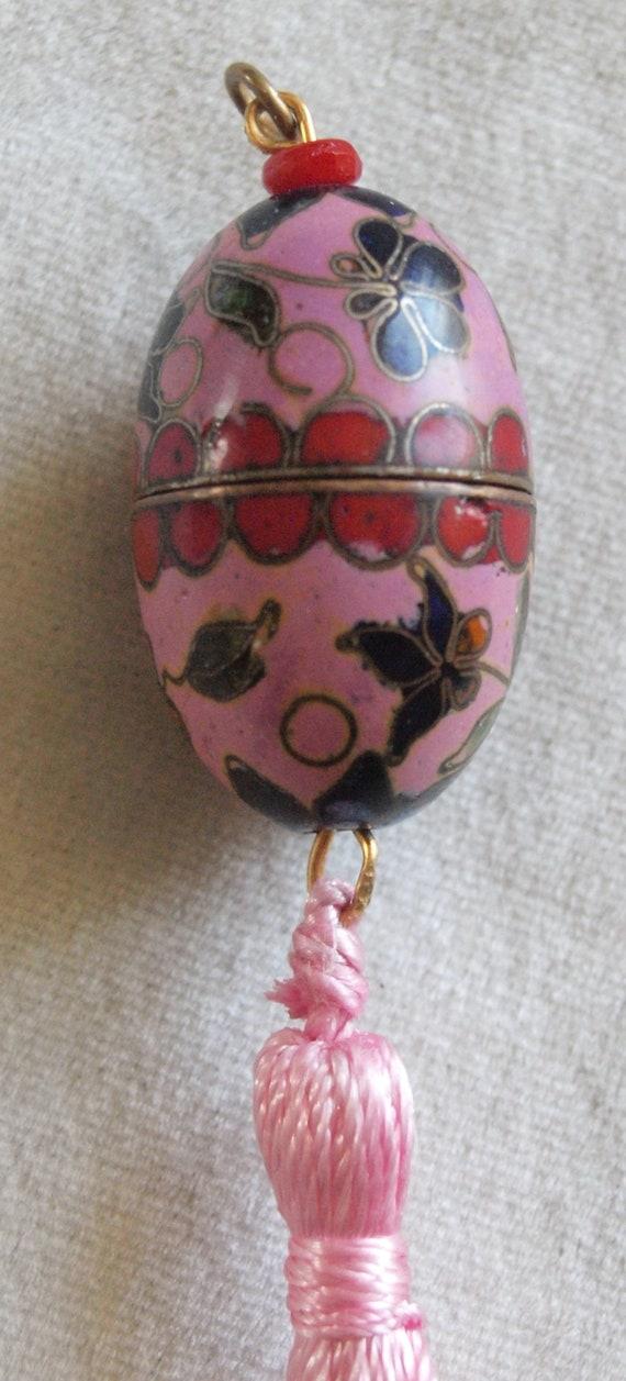 1920's Egg Shaped Cloisonne Perfume, Vinaigrette,