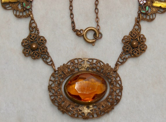 1930's Brass Glass And Enamel Necklace - image 3