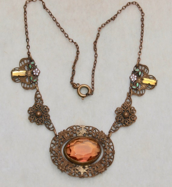 1930's Brass Glass And Enamel Necklace