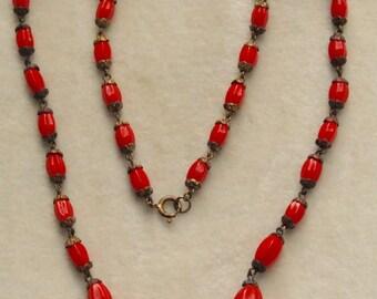 Lipstick red brass and glass Czech necklace