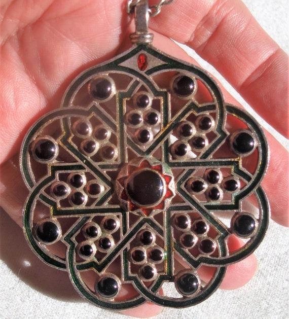 Boho Chic Enamelled Jewel Pendant Necklace