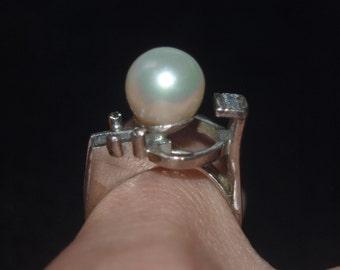 Modernist Sterling Cultured Pearl Ring, Studio Work