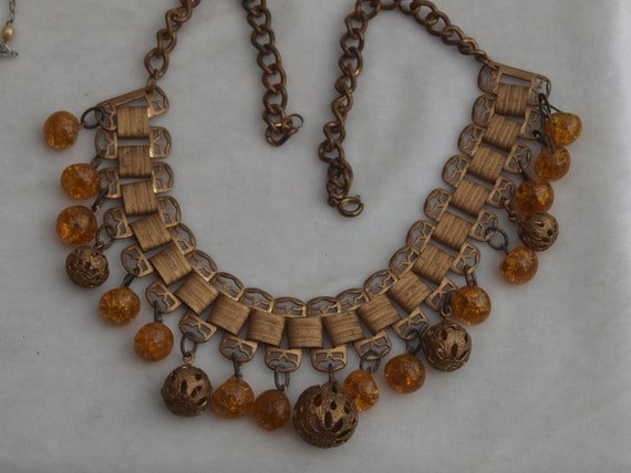 1930's Brass and Glass Fringe Necklace - image 2