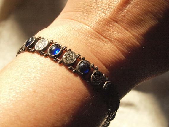 1920's Cobalt Blue Sterling Bracelet
