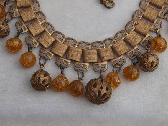 1930's Brass and Glass Fringe Necklace