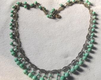 Czech Fancy Brass And Glass Necklace