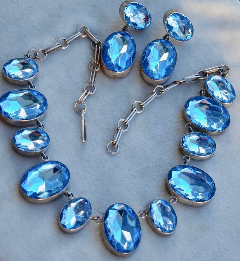 1980/'s Statement Necklace Set Acrylic and Sterling