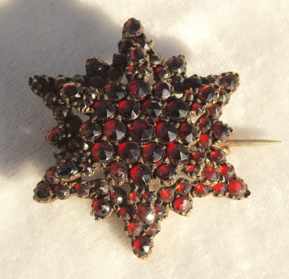 Victorian Bohemian Garnet Star Pin