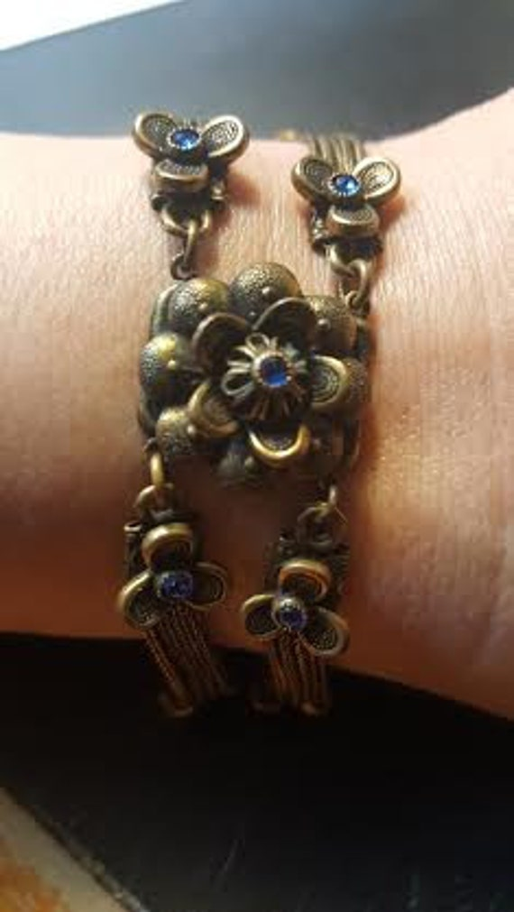 Flapper 1920's Brass and Blue Paste Bracelet