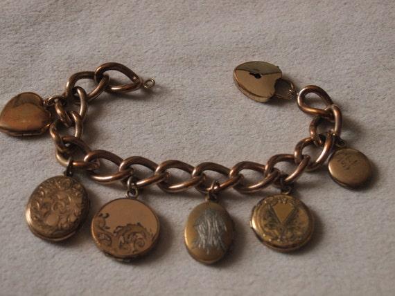 Victorian Multi Locket Bracelet With Heart Lock