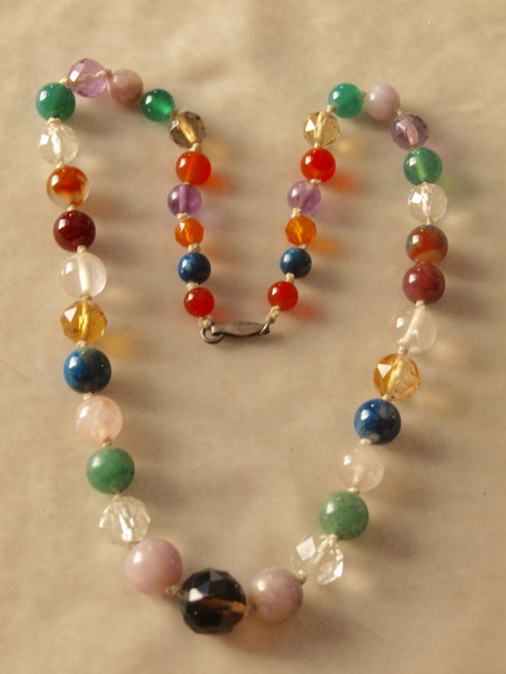 1930's Gemstone Harlequin Necklace
