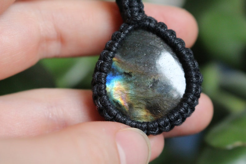 Rainbow Multi Coloured Flash Labradorite Tear Drop Macrame Necklace