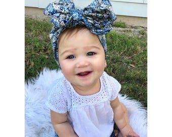 Blue Floral Head Wrap