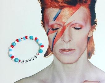 DAVID BOWIE Beaded Bracelet // Aladdin Sane // Ziggy Stardust // Starman // Thin White Duke // Rock n Roll // Glam Rock