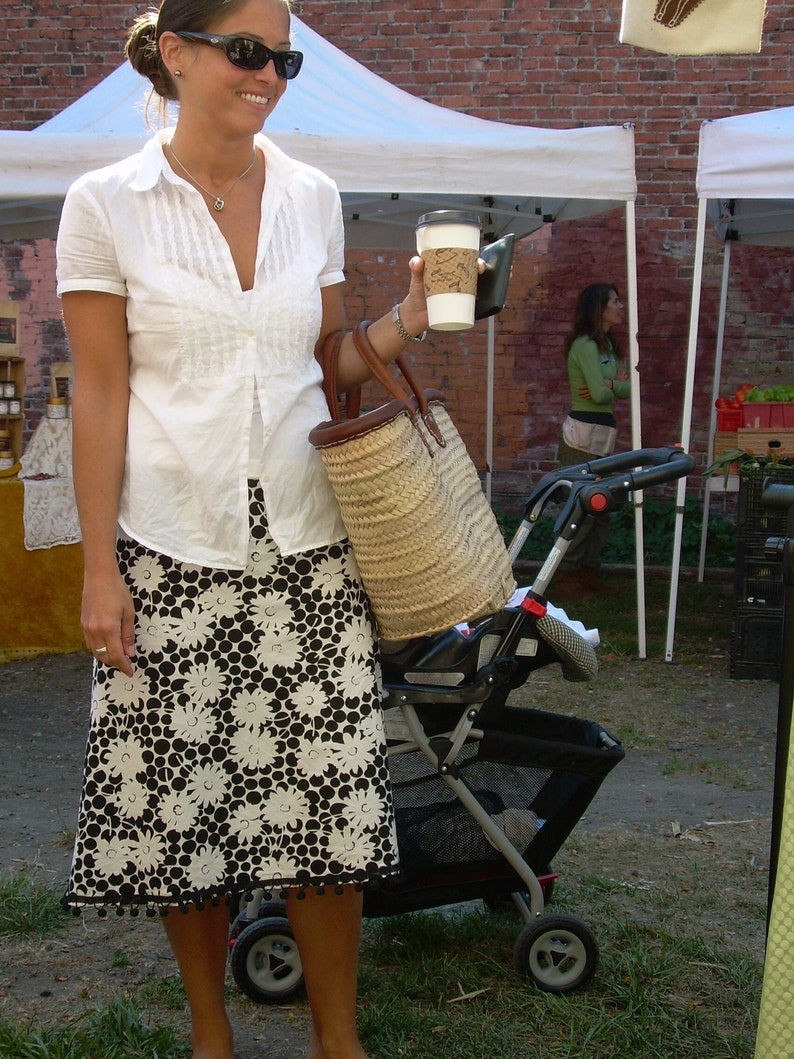 bias cut cotton skirt a-line black and gray background with black dots with sparrow embellishment.