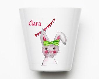 Children's mug bunny personalized, mug bunny with name from melamine