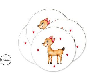 12 Stickers for the Mitgebsel Bag, Sticker Set, Sticker Set, Decal Deer