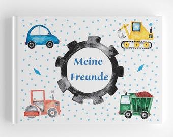 Friends book nursery construction site vehicles, gift kindergarten start, gift school child, optional with gift bag