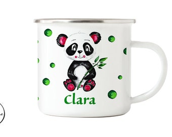 Enamel panda with name, children's mug with name,children's cup with name, personalized mug