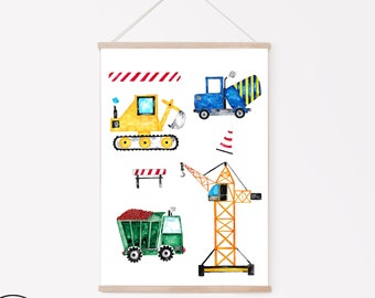 Nursery Poster Construction Site Nursery Decoration, Nursery Picture Girls and Boys