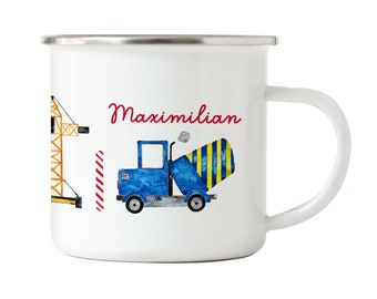 Enamel cup for children construction site with name, children's cup with name