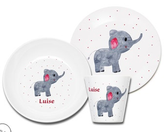 Children's harness personalized, children's tableware elephant with name, gift for birth, gift for baptism