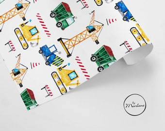 Gift wrapping paper construction site for children