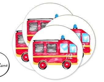 12 stickers fire brigade, sticker mitgebsel children's birthday