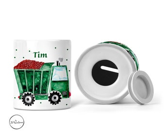 Money box for children named truck with engraving, gift for baptism and birth
