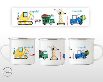 Enamel cup construction site children's cup named Enamel mug children's mug with name