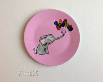 Children's Plate Elephant with name