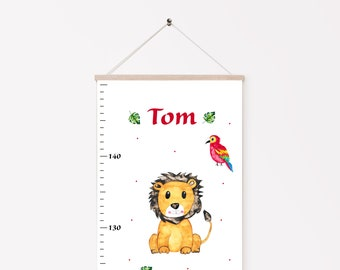 Bar for children personalized with name, measuring bar for children, jungle animals