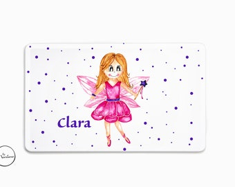 Breakfast board with name Fairy, Children's tableware with name for girls