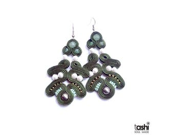 Hand made soutache Earrings with natural  white pearls