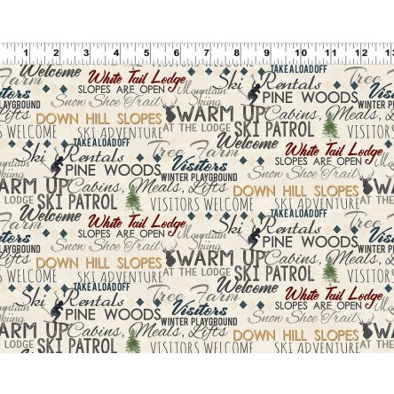 Winter Playground Collection Light Khaki Script Yardage by Dan DiPaolo for Clothworks~4445 Wide 100/% Cotton #Y2767-11 1-58 Yards Left