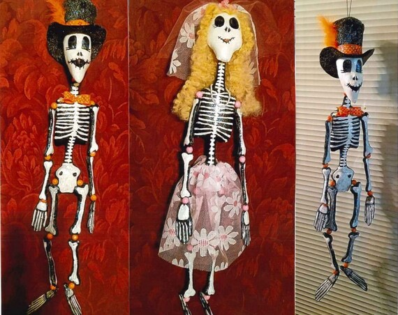 LR101E - Mr and Mrs Bone-Dangles, Skeleton Fabric Doll Pattern,  Sewing Cloth Doll Pattern - PDF Download by Jill Weber