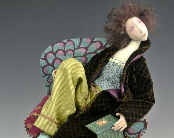 """CR953E - """" Waiting Up""""  Cloth Art Doll Making E-class (PDF Download), Sewing Instructions and Pattern"""