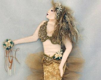 "JS414E - Flavia, A Flat 18"" Mermaid Cloth Doll Sewing Pattern by Judy Skeel - PDF Digital Download"