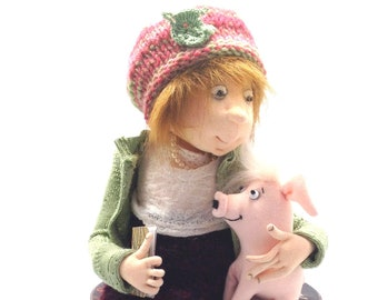 "New - Emma and Pandora,  12"" Doll and Pig PDF Cloth Doll Making Sewing Pattern by Jill Maas - Art Doll - JM969E"