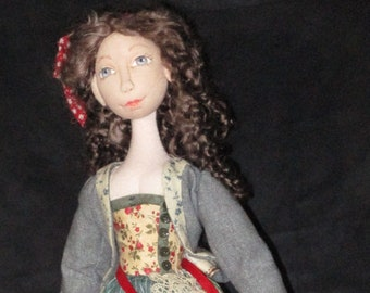 """BS340E - Belle of Provence, 15"""" Soft Sculptured Cloth Doll Pattern -  PDF Download Sewing Pattern by Barbara Schoenoff"""