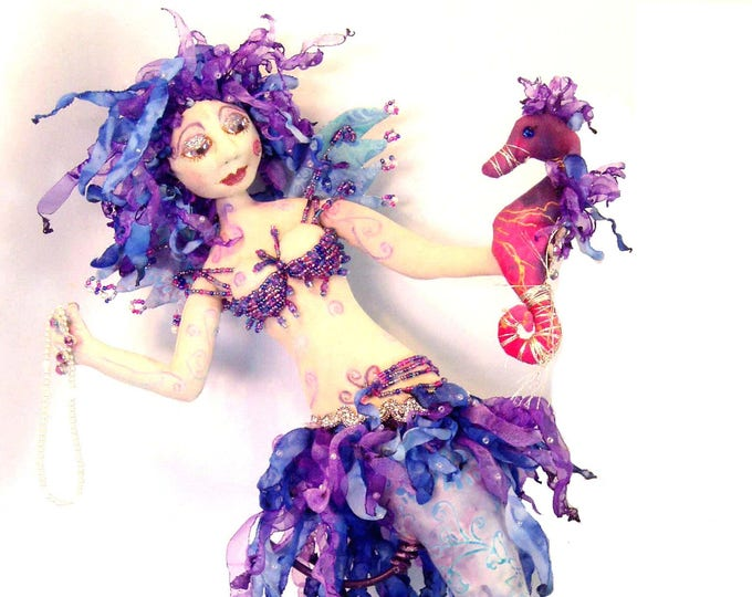 MM230E - TARJA- Mermaid with her Sea Horse,  Cloth Animal Doll Pattern – Sewing PDF Doll Pattern
