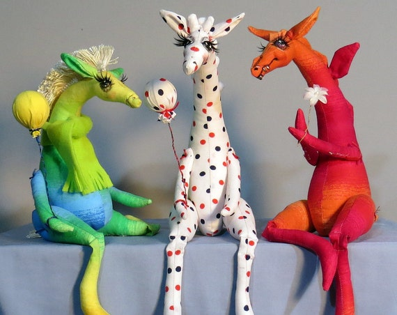 SM928E -  Whimpey Dragon, Giraffe & Horse -  3 in 1 Cloth Doll/Animal Making Sewing Pattern - PDF Download