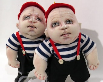 SM933E - Tweedledum and Tweedledee -  Cloth Doll Making Sewing Pattern - PDF Download by Sharon Mitchell