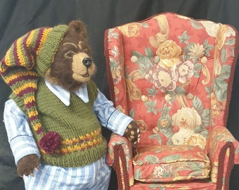"""Winston and His Arm Chair,  16"""" Bear Cloth Doll Sewing Pattern by Suzette Rugolo.  PDF Digital Download Pattern."""