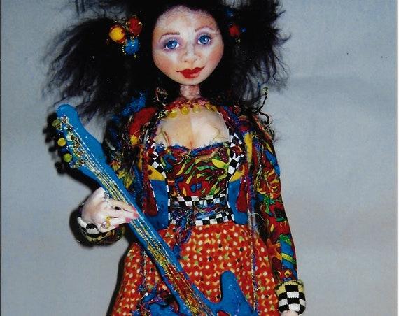 "PC363E - Roxanne Goes Solo, 18"" Cloth Doll Sewing Pattern by Patti Medaris Culea - PDF Download E-Pattern"