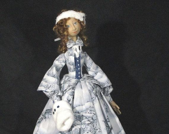 "BS343E - Lillian Winter, 15"" Soft Sculptured Cloth Doll Pattern -  PDF Download Sewing Pattern by Barbara Schoenoff"