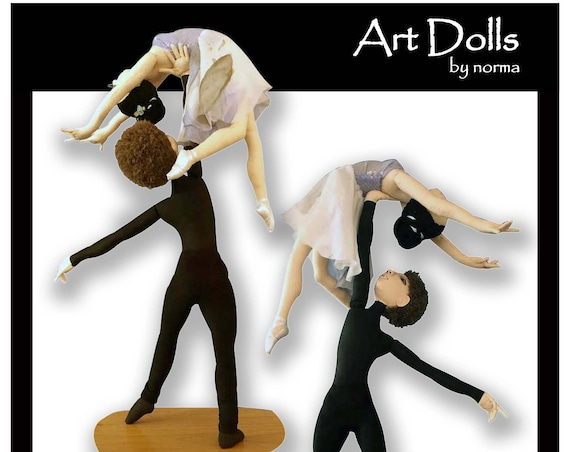 NI104E - La Danse... Male and Female Art Dolls In Action PDF Cloth Doll Making Patterns